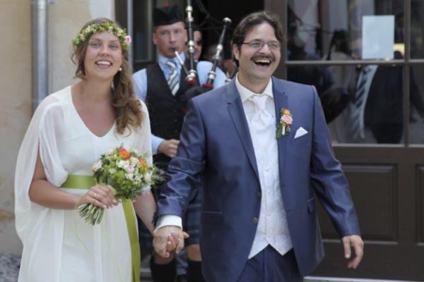 Bagpiper bei einer Hochzeit