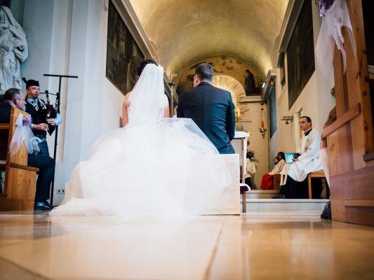 Dudelsackspieler auf Hochzeit Zermonie