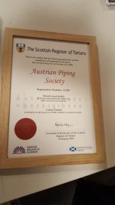 Zertifikat registierter Tartan in Schottland Austrian Piping Society